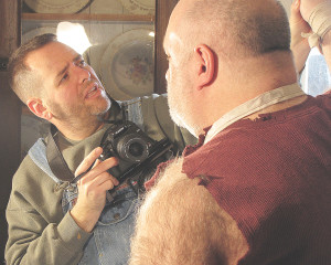 """With camera in hand, """"Ghost Canyon"""" creator Aaron Warner directs actor David Reinke."""