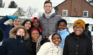 ABOVE:Posing for a photo with Detroit Pistons player Jon Leuer are (back row, from left) Jessica, Diyana, Keylen, Mia and (front row, from left) Ariana, Julia, Caterra and Jamiyah.