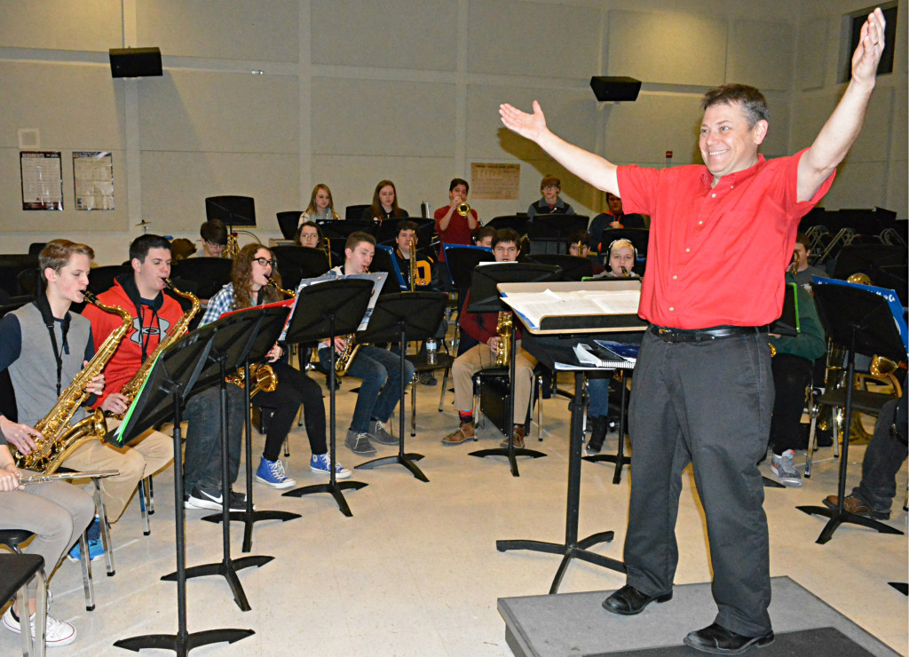 OHS Jazz Band Director John Hill brings a lot of exhuberance to the group's early morning jam sessions. Photo by C.J. Carnacchio.