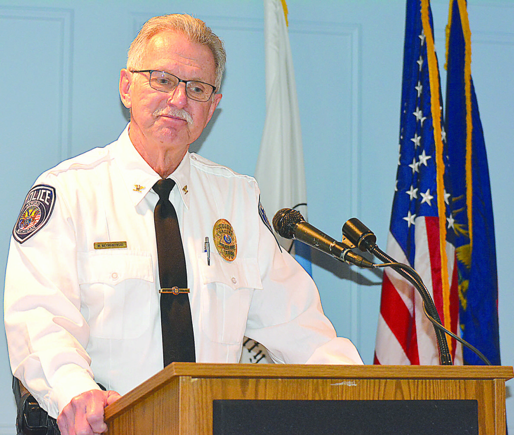 Oxford Village Police Chief Mike Neymanowski addresses council about his resignation during a special meeting Feb. 3. Photo by CJC.