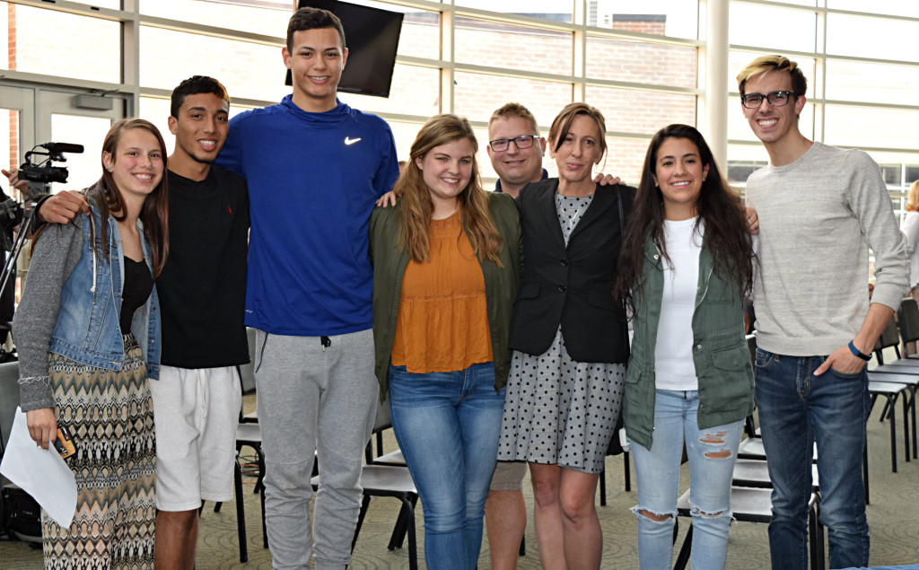 These Oxford High School seniors are recording tapes to explain why suicide isn't the answer. Shown (from left) are Maddy Drypes, Jordan Jaden, Jeam Linares, Alexa Alban, Darrin Hafeli, Amy Hafeli, Kayla Manzella and Dylan Koss. Photo by Elise Shire.