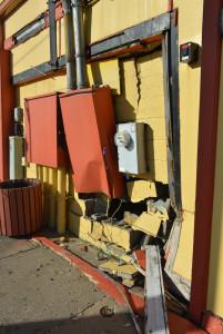 Crash damage at Casa Real.