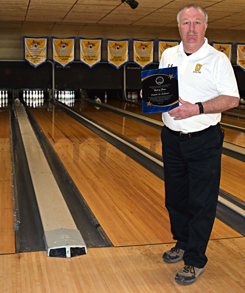 Oxford Bowling Coach J.R. Lafnear was inducted into the Michigan High School Interscholastic Bowling Coaches Association's Hall of Fame. Photo by Elise Shire.
