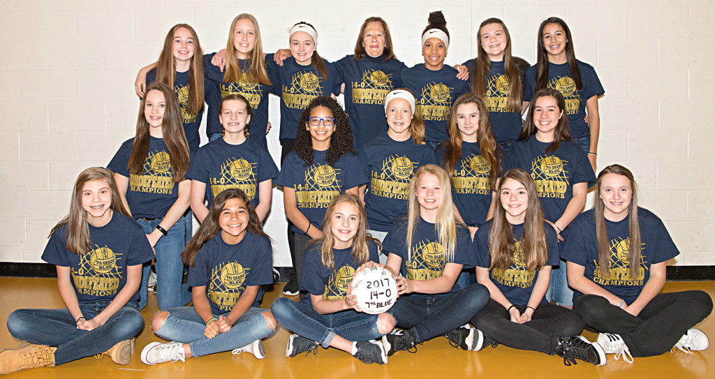 Back row (from left): Olivia Dorman, Madison Hunley, AnnahBurdua, Coach Gayle Tucker, Maya Roper, KierstanIhrke, Olivia Drobnich. Middle row (from left): Claire Spindler, Emma Bunting, Rachel Townsend,Olivia Dare, Macie McDevitt, Helene George. Front row (from left): Assistant Coach Gina Guy, Alex Dawood, Carly DeTone, Halle Darrin, Olivia Guy, Assistant Coach Nevaeh Hall. Photo Courtesy TZR Sports.