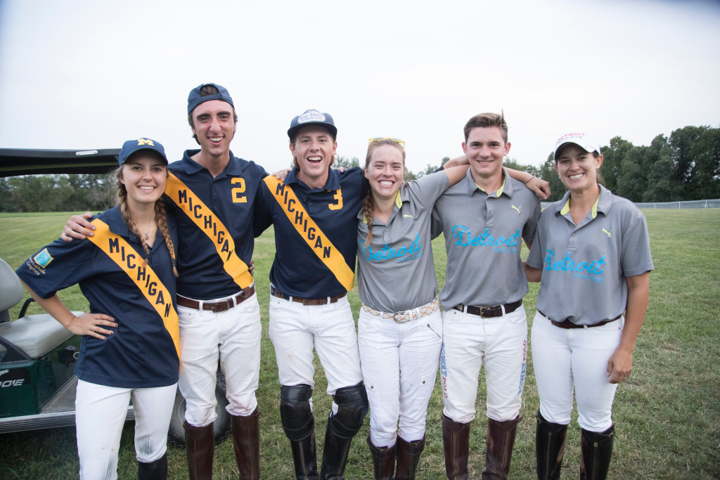 Playing polo at Rattlewood Farms were (from left) Amanda Vogel, Caleb Pilukas, Turner Wheaton, Katrina Anderson, Andrew Scott and Emmalyn Wheaton. Vogel is a sophomore at the University of Michigan and Pilukas is president of the Michigan Intercollegiate Polo Club. Turner Wheaton is a professional-level player at the Detroit Polo Club. Anderson is a recent U-M graduate and former U-M polo player. Scott is a U.S. Polo Association intern working at the Detroit club. Emmalyn Wheaton is coach of the U-M team and manager of the Detroit Polo Club. Photo by C.J. Carnacchio.