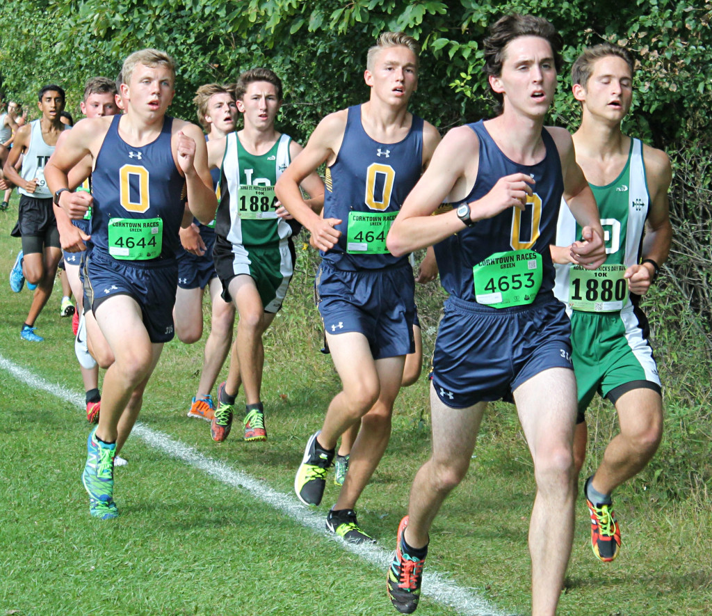 Oxford cross country runners Zachariah Smith, Scott Masterson and Hunter Green lead the pack. Photo by Heather Smith.