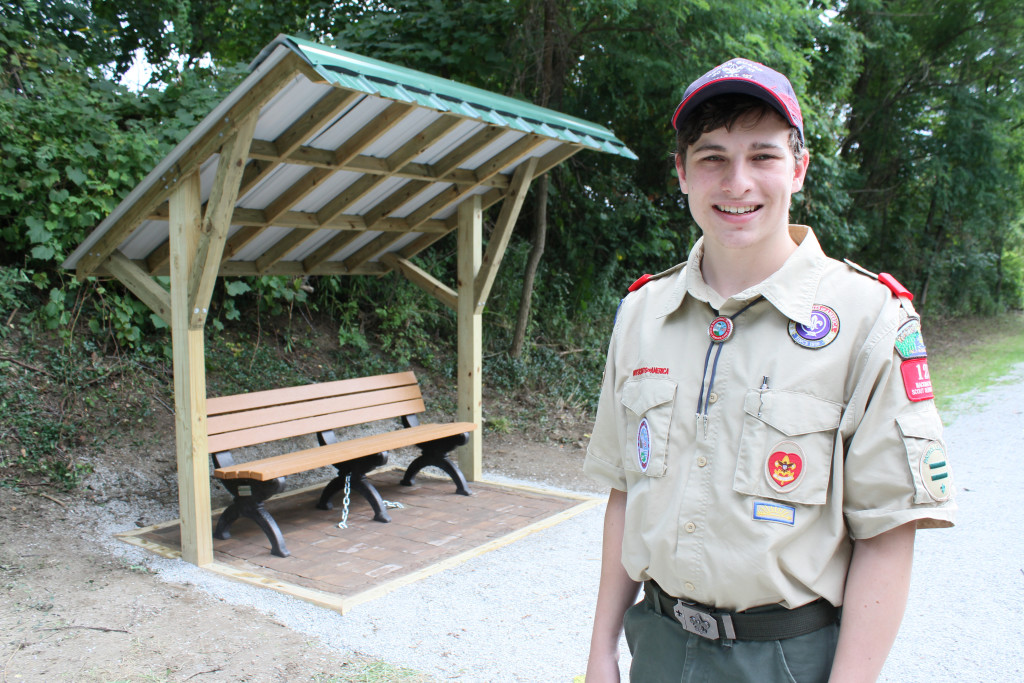Leonard resident Kyle Fuller, a Life Scout with Dryden's Boy Scout Troop 130, built a small rest area for Polly Ann Trail users near Bordman Rd. Photo by C.J. Carnacchio.