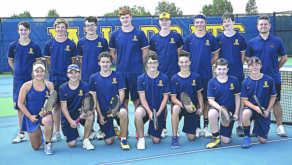 Wildcats ready to take to the tennis court are Corey Schimmel (back row, from left), Jonathon Robb, Dane VonAllmen, Drew Galley, Connor Romine, Andrew Wassell, Trevor Wallace, and Coach Ryan Ruzziconi. Shown in front (from left) are Lauren Opalewski, Hayden Durant, Cameron Mumbrue, Silas VonAllmen, Brock Heilig, Brenden Havarie, Nolan Kutchey. Photo by Matt Johnson.