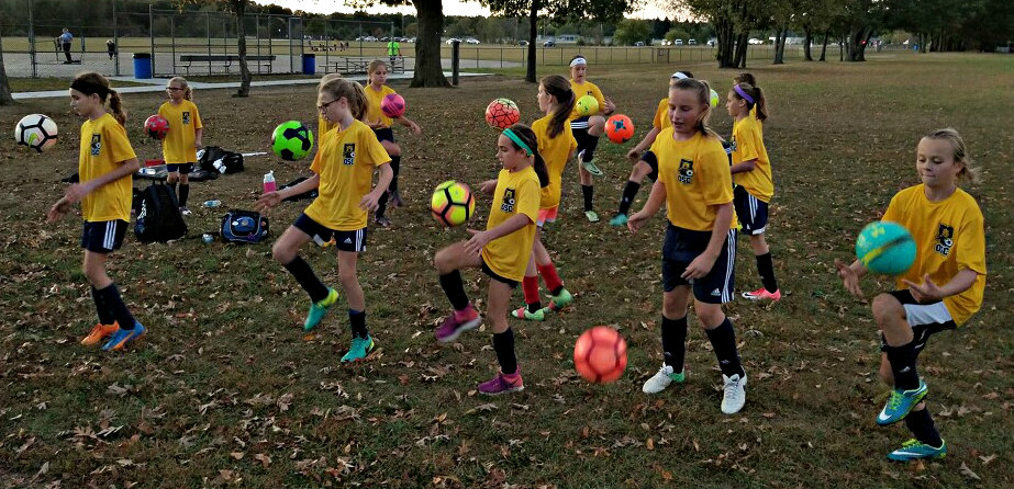 The athletes of the Oxford Soccer Club 06 team (shown above) and the 04 team juggled soccer balls to raise money for hurricane relief. They raised $1,800 towards the cause. Photo provided.
