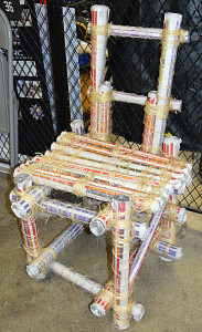 Using only newspapers and twine, OHS students designed and built chairs like this one.