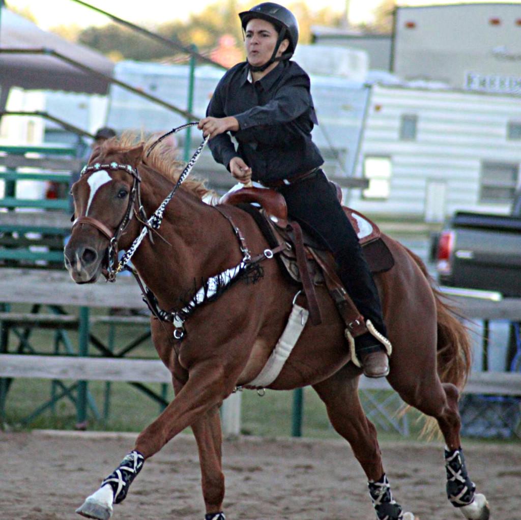 Senior Tristin Medeiros competes in the speed classes. Photo by Gina Lantz.