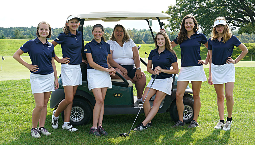 The Lady Cat varsity golfers are (from left) Abby Smiles, Kate Dietikier, Elizabeth Grabowski, Coach Gretchen Gabler, junior captain Caity Hopman, senior captain Lauren Yankee and Samantha Malinich. Photo by Matt Johnson.