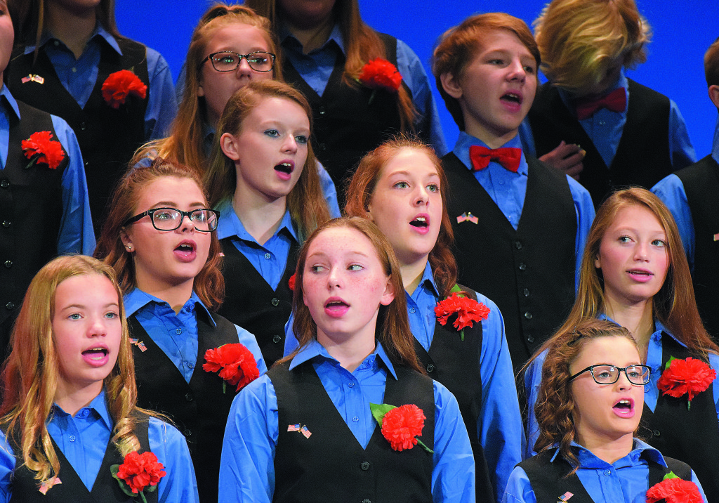 Oxford Middle School choir students put on their annual Americana Concert Friday night at the high school Performing Arts Center. A total of 220 sixth-through-eighth-graders sung a variety of patriotic songs in honor of Veterans Day.