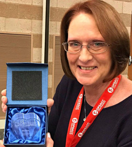 Oxford Schools employee Dee Theile recently received the Paula Bragan Staff Excellence Award at the Oakland Professionals for School-Age Child Care conference. Photo provided.