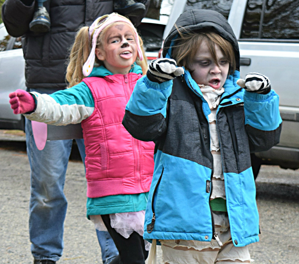 Doing the Monster Mash during the Halloween parade are Leonard Elementary students Quentin Collison and Adria Kurzawa. Photo by Elise Shire.