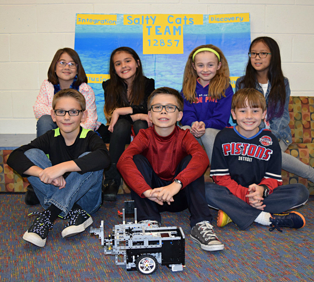 Clear Lake Elementary robotics team 12857 consists of (back row, from left) fifth-graders Molly Antoniou, Dana Lee, Natasha Dysarz, Jenna Duong. In the front are (from left) Luke Lovely, Michael Rustoni, Jack Dysarz. Photo by Elise Shire.