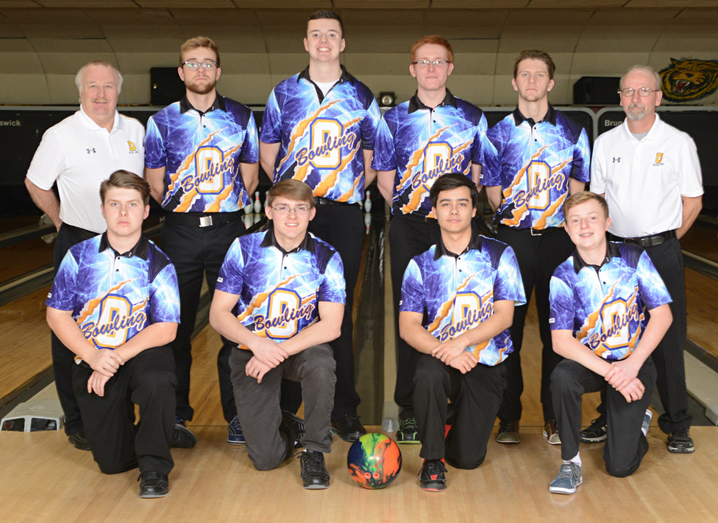 The OHS boys varsity bowling team has been dominating the competition this season. Shown in back are (left to right) Head Coach JR Lafnear, Captain Luke Meyer, Luke Acton, Captain Tanner Cartner, James Albert Asst. Coach Steve Burgess. In the front (left to right) are Dean Petersen, Christian Cartner, Jimmy Dehmel, Zach Barrows. Photo provided.