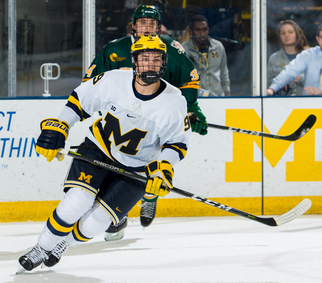 Oxford native Josh Norris is skating for the Michigan Wolverines these days. Photo courtesy of Michigan Photography.