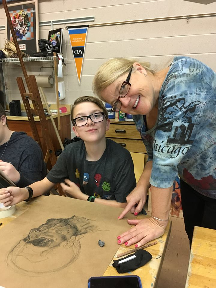 Oxford Middle School eighth-grader Luke Farwell (left) and his art instructor Diane Heath, of Rochester Hills. Photo provided
