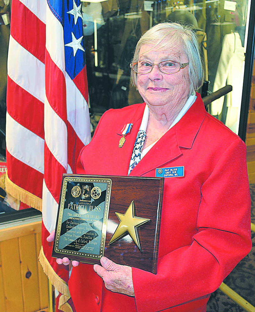 On Sunday afternoon, Pat Bliss, president of Oxford American Legion Auxiliary Unit 108 since 2003, was presented The Americanism Award for her dedication to veterans, children and the community. Photo by C.J. Carnacchio.