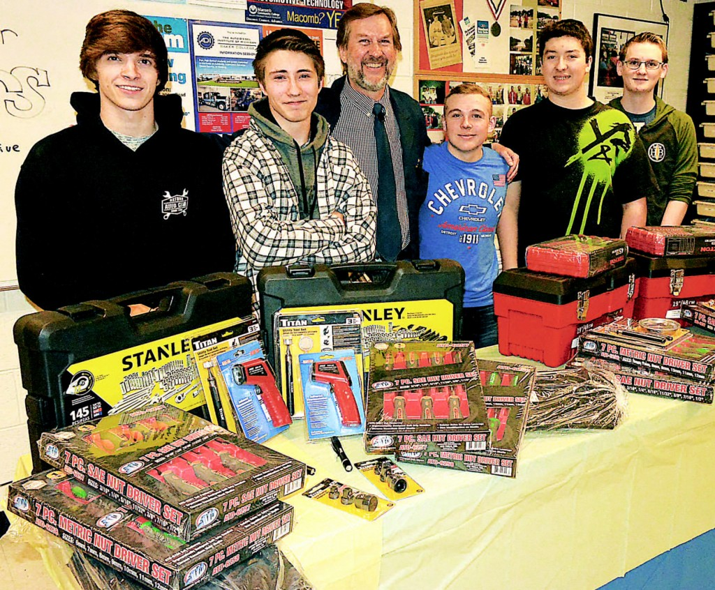 And the winners are . . .  Jacob Konarski (from left), Terry Sculley, Auto Technology teacher Daniel Balsley, Chase Moore, Jakob Butterfield and Ethan LaRock. Photos by C.J. Carnacchio.