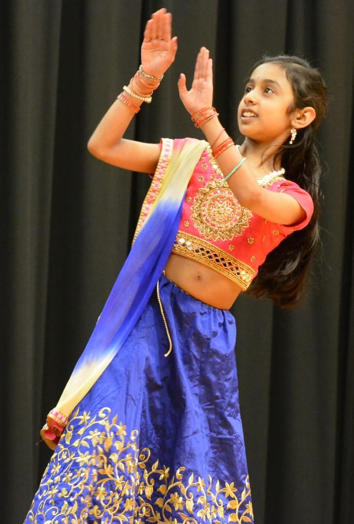 Sriya Joshi performs a traditional Indian dance.