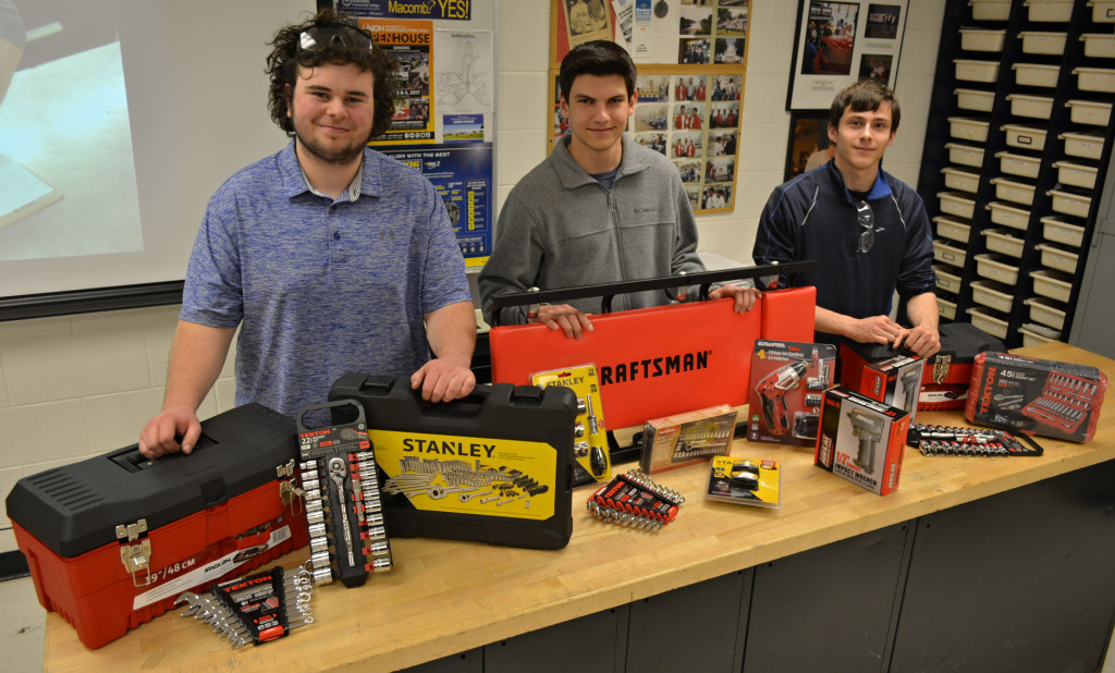 The overall winners in the 2018 Mini-MITES competition were OHS Auto Technology 2 students (from left) Max Zeiger (first place), Mitch Essenmacher (second place) and Joe Legault (third place). Each received a trove of new tools. Photos by C.J. Carnacchio.