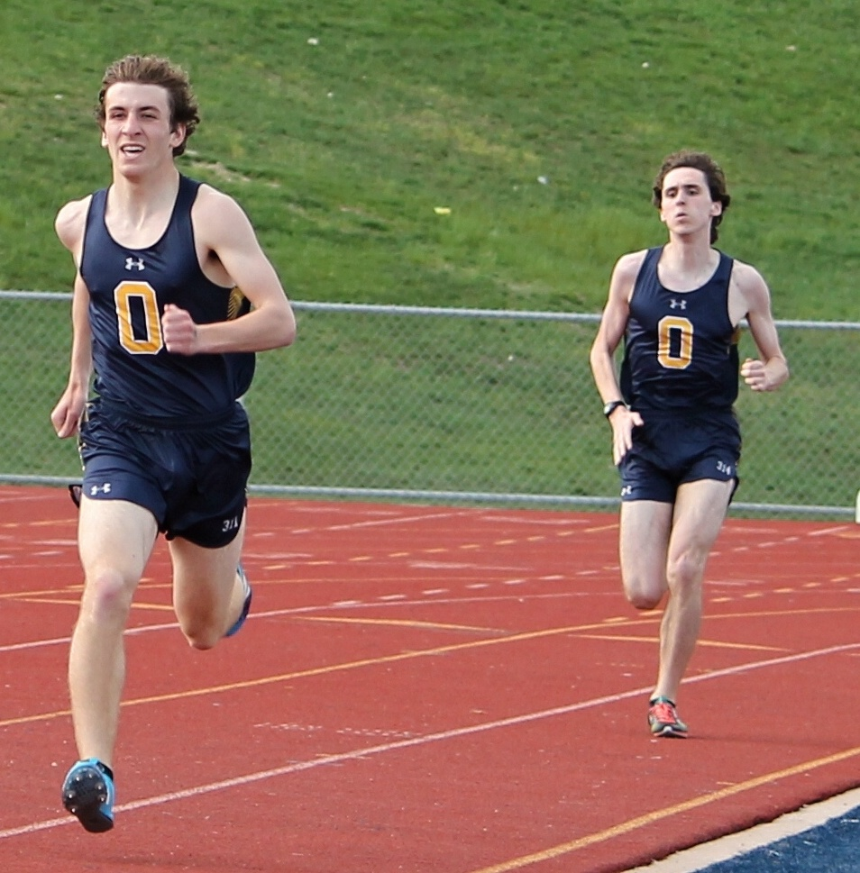 Wildcats Dominic Bruce and Zachariah Smith run the 800m. Photo by Heather Smith.