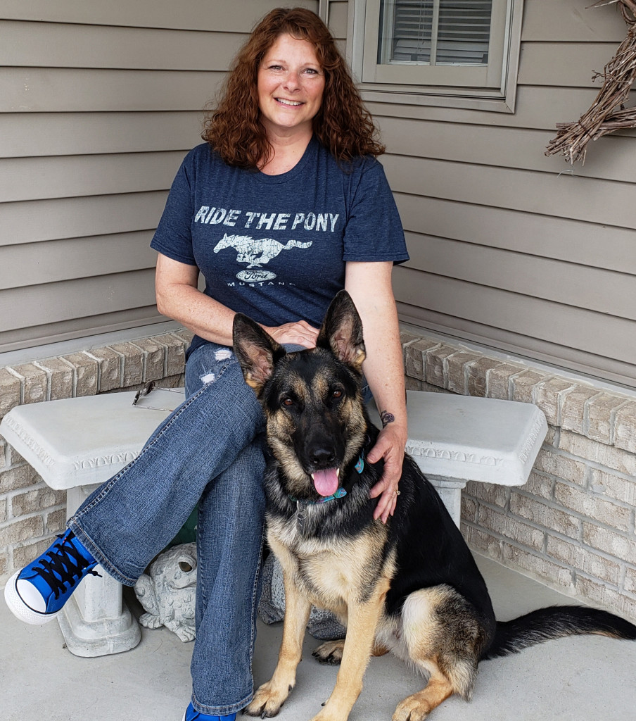 Ginger Guindon and her new  service dog/best buddy, Layka.