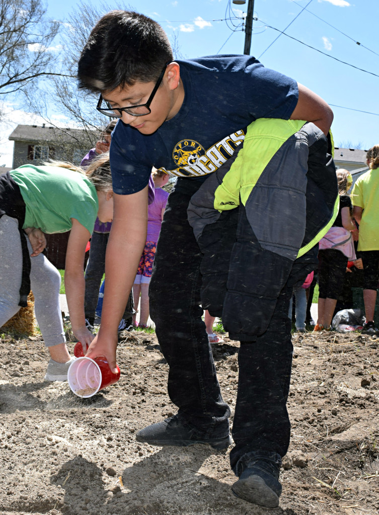 Matthew Aguilar helps plant the butterfly flower seed mix. Photo by Elise Shire.