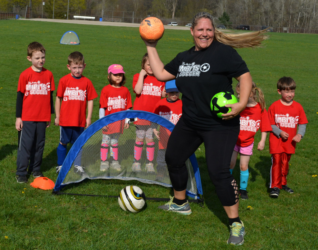 Jennifer Lewis loves teaching the kiddies soccer on Saturday mornings in Seymour Lake Twp. Park. Photo by C.J. Carnacchio.