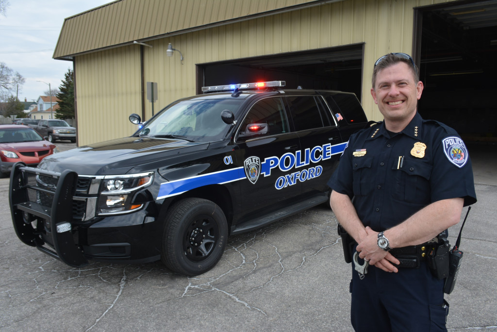 Oxford Village Police Chief Mike Solwold is pleased with the agency's new 2018 Chevy Tahoe, which was put into service April 30. Photo by C.J. Carnacchio.