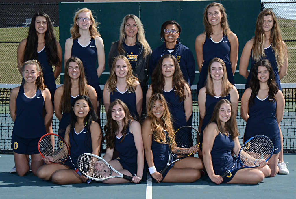 The Lady Wildcats varsity tennis team are making the best of a tough season. Shown in back are Vanessa Pariso (from left), Rowan Edmonds, Asst. Coach Angie Reed, Head Coach Gayle Bailey, Maddie Roop and Elle Wright. In the middle row are Sydney Young (from left), Stephanie Heirman, Ashlyn Foreman, Lauren Champane, Emilie Appleyard and Kenna Wagner. Ling Xiong, Jenna Adema, Sharon Yoo and Alura Reed are shown in front. Photo provided.