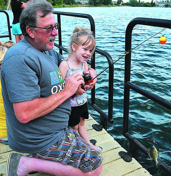 I got a fishy, Grandpa!