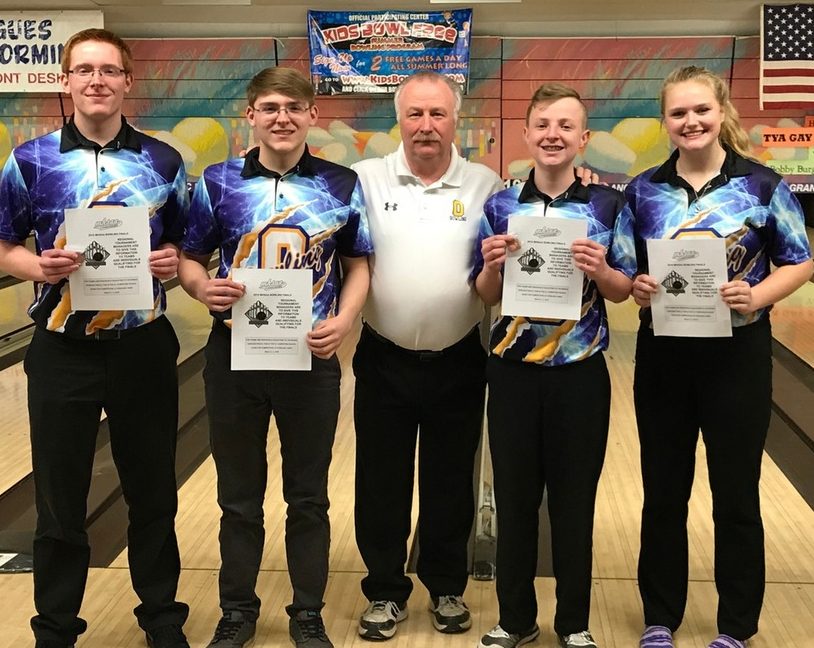 Bowling Coach J.R. Lafnear pictured with four of his top bowlers from the winter 2018 season – Tanner Cartner, Christian Cartner, Zachariah Barrows and Megan Armbruster. Lafnear led both the boys and the girls to states last season. Photo provided.