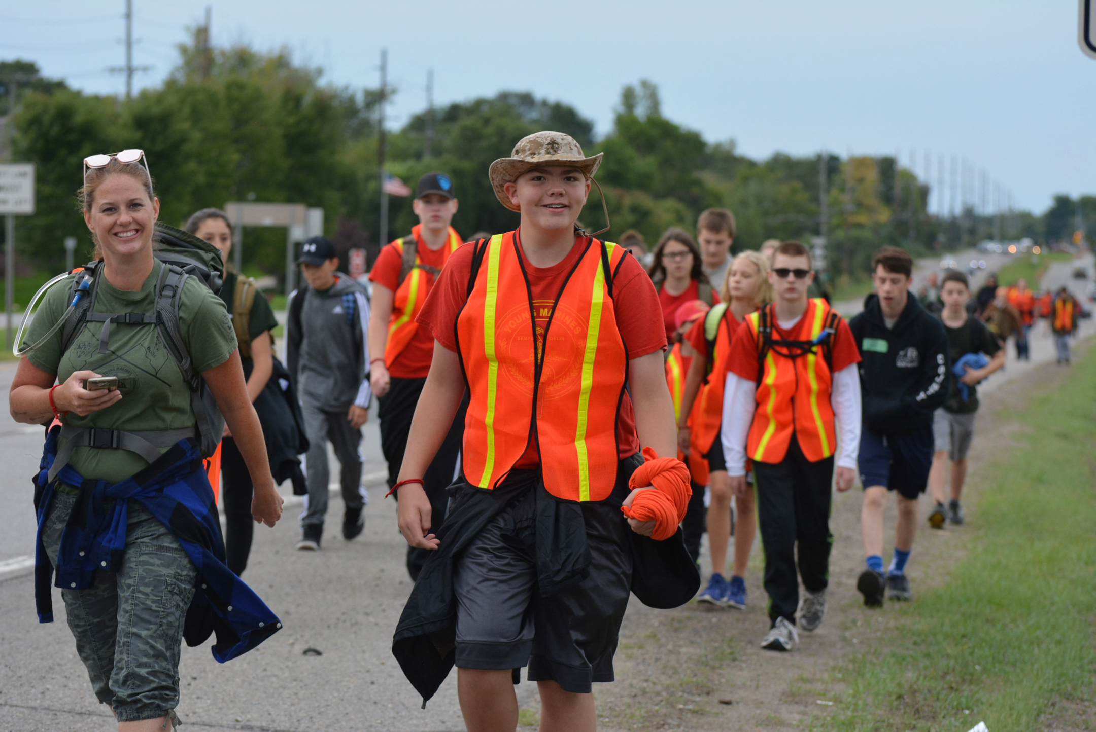 Folks of all ages participated in the Ruck for the Fallen Saturday. They walked along M-24, from Orion Twp. to Lapeer. Photo by C.J. Carnacchio.