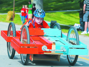 Ethan Creps took second place in the Strawberry Derby with his sister Kaitlyn Creps (not pictured). They shared the driving duties. Photo by C.J. Carnacchio.