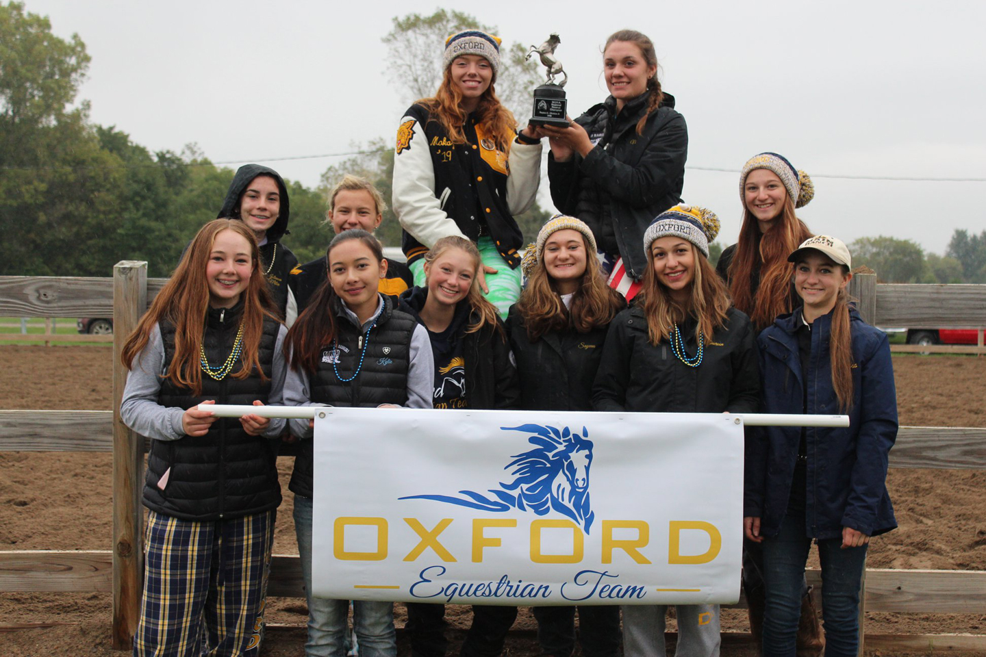 Oxford's equestrian team poses with its trophy. Photo provided.