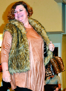 Paula Foster is looking hip and warm in this fur vest from The Boulevard Boutique. Photo by C.J. Carnacchio.