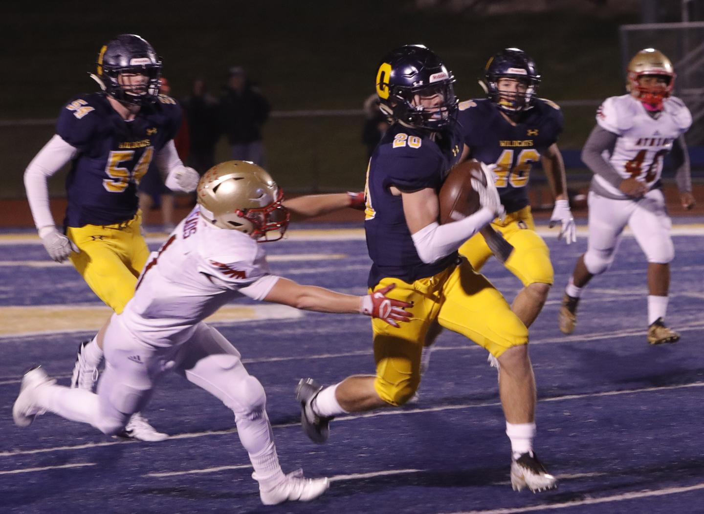 Oxford's Matthew Pullman intercepted an Athens' pass and returned it for a touchdown. Photo  by Matt Johnson.