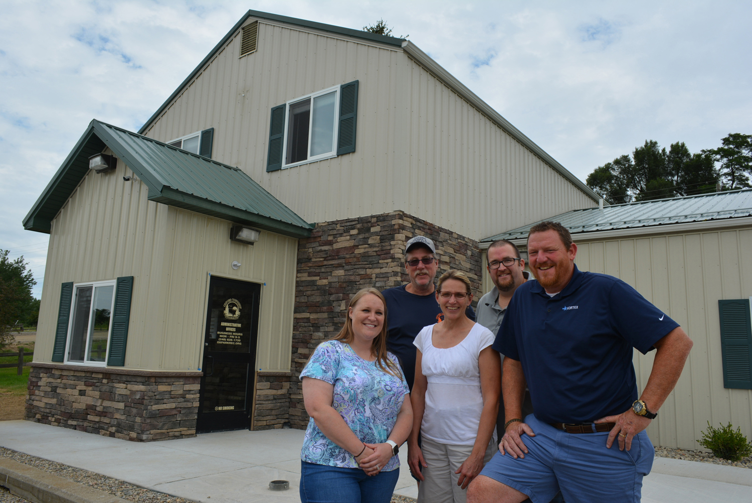 The staff of the Oxford Twp. Parks and Recreation Dept.  includes (from left) Lauren Smith, Jeff Kinasz, Dawn Medici, Dan Sullivan and Director Ron Davis. Photo by C.J. Carnacchio.