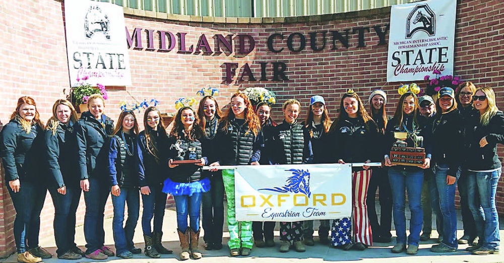 The OHS Equestrian Team is the Michigan Interscholastic Horsemanship Association 2018 Division A Reserve State Champion. Pictured are (from left) Kellie Wicker, Jennifer Fifield, Jacquelyn Kubina, Hailey Boger, Elyssa Main, Zanna Sayeau, Olivia Dorman, Makayla Haywood, Kylie Ossege, Riley Hodder, Julianna Miller, Madalin McMullen, Emily Vandenberghe, Emerson Lantz, Dee Shepard, Jenney-Ayn Gill, Shannon Trezil and Kaitlin Trezil. Photo provided.