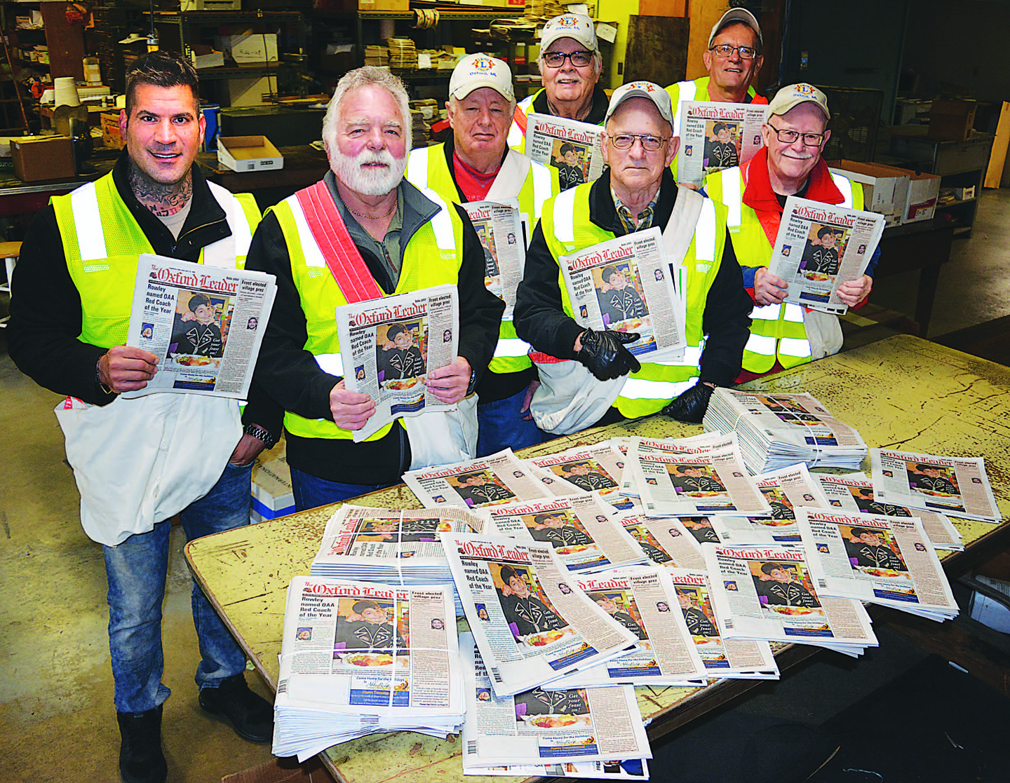 Members of the Oxford Lions Club will be on the street from Thursday, Nov. 29 to Saturday, Dec. 1 selling Goodfellow newspapers to raise money to fill Christmas baskets with food, clothes and toys for local folks in need. Photo by C.J. Carnacchio.