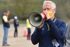 Assistant Principal Kurt Nuss announced over a megaphone the name of each student-senior as they arived.