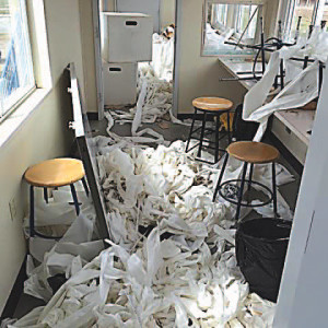 A sea of toilet paper and tissue paper filled the vandalized press box. Photo provided.
