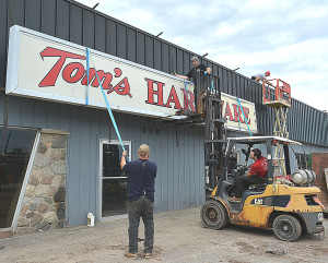 On Monday, the Tom's Hardware sign, a familiar sight in Oxford since the 1970s, was removed from the building on M-24.