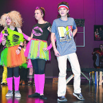 "Dressed in 1980s fashions, Oxford Middle School Drama Club members (from left) Bella Delano, Lauren Schmidt, Layni Chaisson, Elijah Zelenock and Jessie Johnson rehearse a scene from the comedic play, ""That's Not How I Remember It."" It's coming to the high school stage on Jan. 17 and Jan. 18. Photo by C.J. Carnacchio."