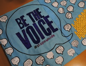 "The American Foundation for Suicide Prevention's motto is ""Be the Voice,"" which was displayed in a number of ways via posters made by OMS students. The American Foundation for Suicide Prevention's motto is ""Be the Voice,"" which was displayed in a number of ways via posters made by OMS students. Photo by Shelby Tankersley."