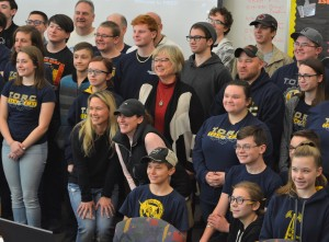 State Sen. Rosemary Bayer (D-Beverly Hills), pictured in the very center, poses with robotics students and mentors during the Jan. 5 kickoff event held at Oxford High School. Photo by C.J. Carnacchio.