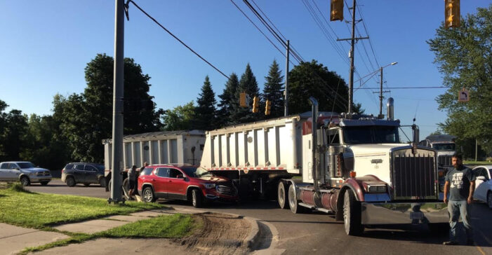 Car, gravel hauler collide in Oxford, injuries avoided